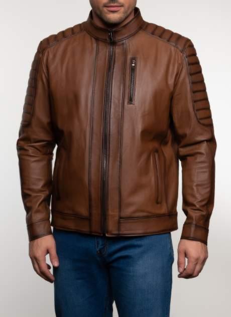 Кожаная куртка мужская Каляев 48084 коричневая 48 RU