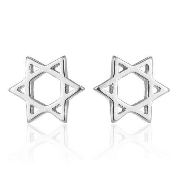 Серьги Звезда Давида серьги-гвоздики World Of Judaica WOJ-EAR-02 серебристые