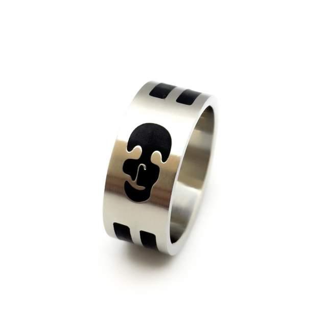 Кольцо мужское Accent de LUX RLI022 серебристое/черное р. 20