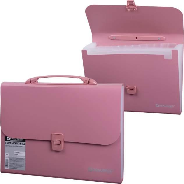 Портфель пластиковый Brauberg 221441, А4, 13 отделений, пластиковый индекс, розовый