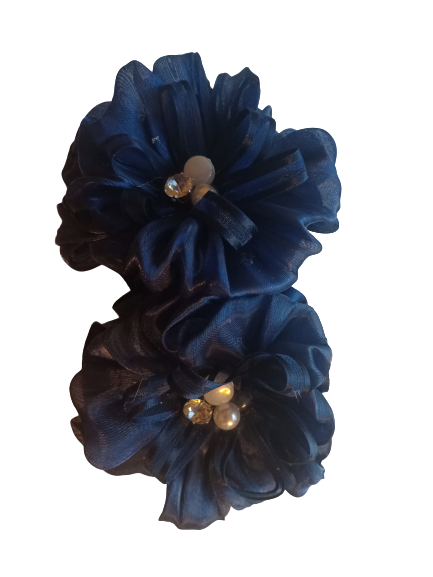 Банты на резинке диаметр 8 см Duolaimei 2 шт цвет синий