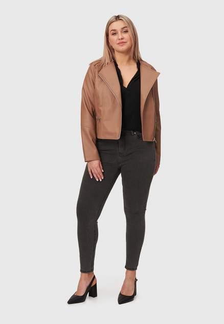 Кожаная куртка женская Modis M211W00401 коричневая 4XL