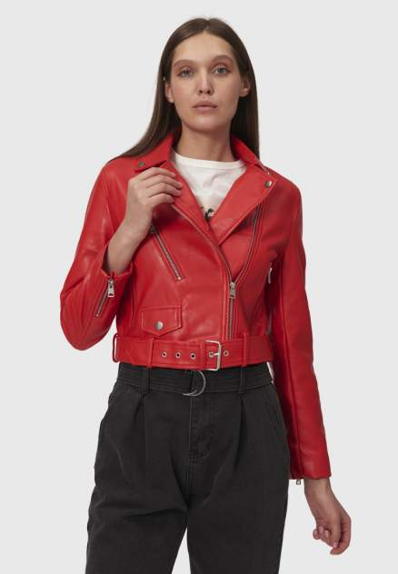 Кожаная куртка женская Modis M202W00802Y039F красная 42 RU