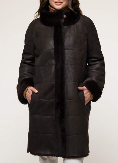 Дубленка женская Каляев 1344159 коричневая 56 RU