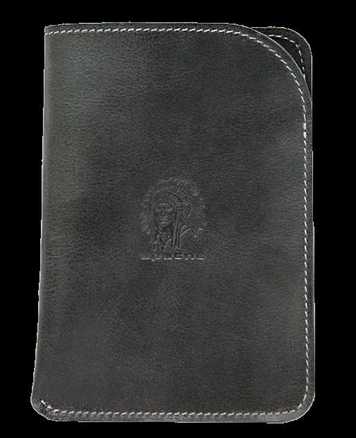 Обложка для паспорта кожаная Apache ОП-А дымчато-черная Apache