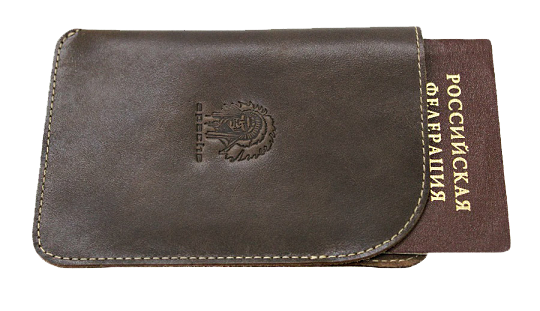 Обложка для паспорта кожаная Apache ОП-А дымчато-коричневая
