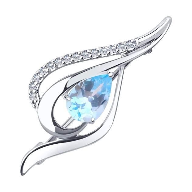 Брошь из серебра с топазом/фианитом Diamant 94-340-01045-1