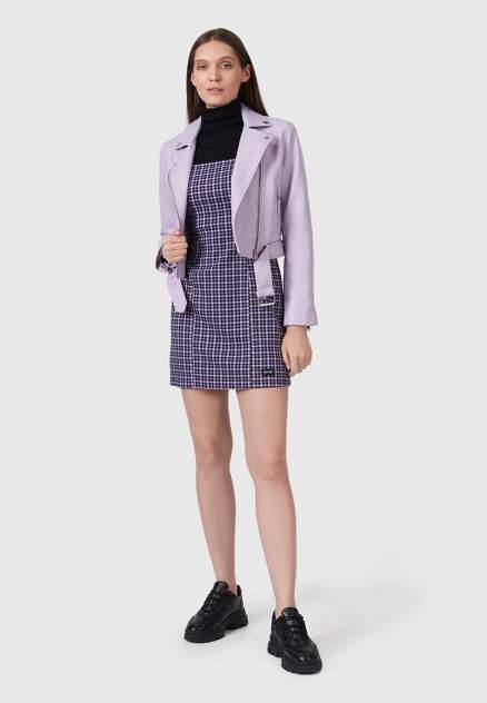 Кожаная куртка женская Modis M211W00415S799F фиолетовая 46 RU