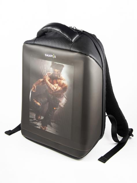 Рюкзак с экраном SMARTIX LED 5HD черный (Power Bank в комплекте)