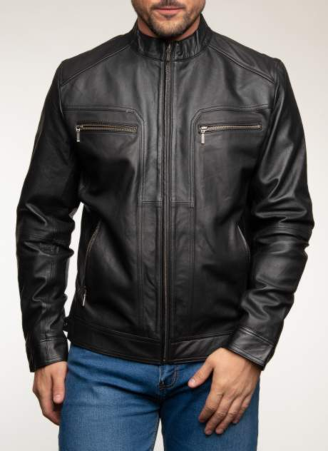 Кожаная куртка мужская Каляев 1560142 черная 50 RU