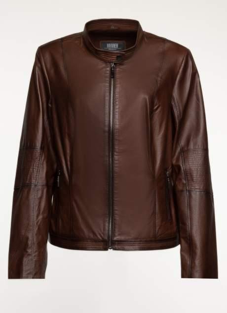 Кожаная куртка женская Каляев 1560367 коричневая 42 RU