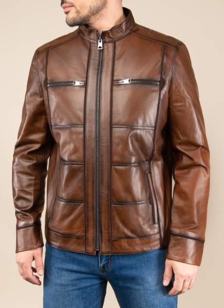 Кожаная куртка мужская Каляев 1562128 коричневая 48 RU