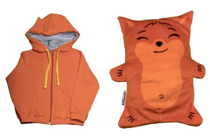 Обликулс 2 в 1: Худи детский с капюшоном и игрушечный Лис Хитрюc, цв. Оранжевый, р.116