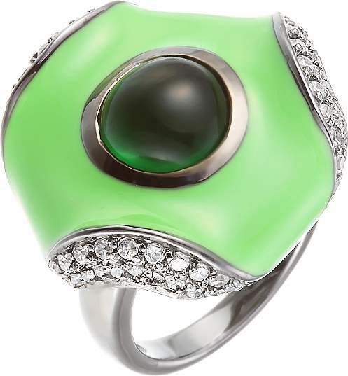 Кольцо женское с эмалью и фианитами из серебра Джей Ви BRC1779-01_GZI_GENAM_001_BLK
