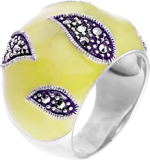 Кольцо женское с марказитом, вставкой из эмали из серебра Джей Ви RGA-2569_MZ_ENAM