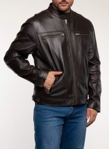 Кожаная куртка мужская Каляев 1582354 коричневая 60 RU