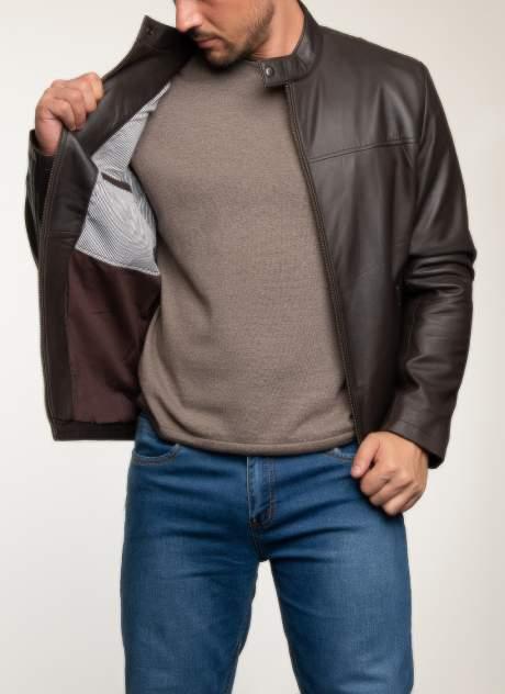 Кожаная куртка мужская Каляев 1582367 коричневая 54 RU