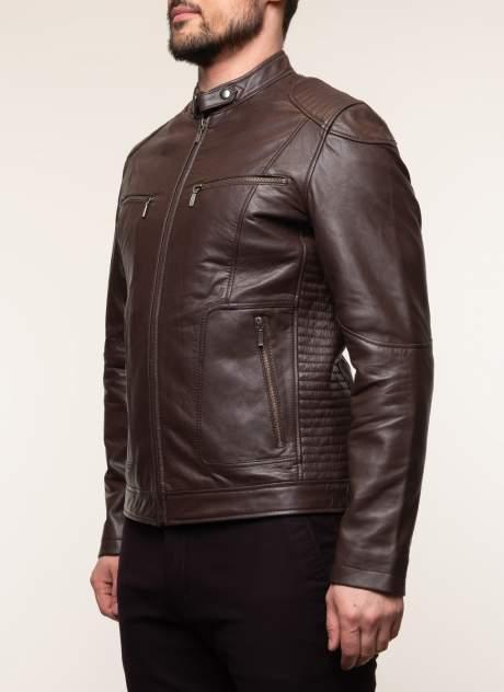 Кожаная куртка мужская Каляев 1582393 коричневая 58 RU