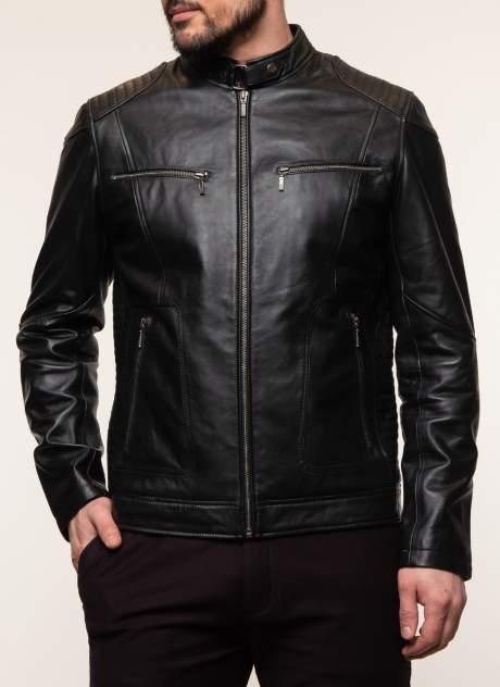 Кожаная куртка мужская Каляев 1582393 черная 56 RU