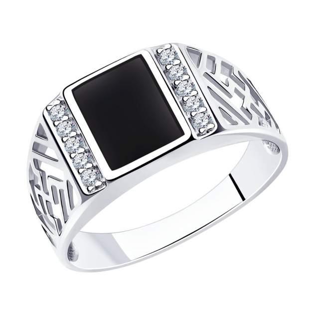 Печатка из серебра с фианитом и эмалью р.21.5 SOKOLOV 94010713