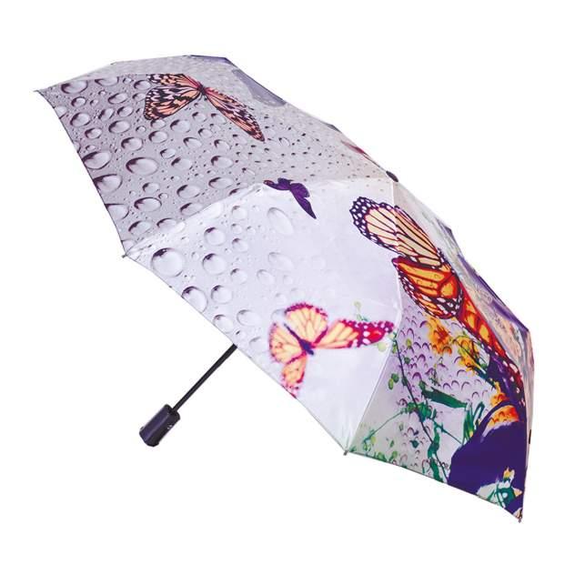 Зонт складной женский автоматический Flioraj 231208 FJ серый