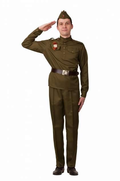 Военная форма взрослая Солдат с прямыми брюками и орденом (текстиль), Батик, р.44
