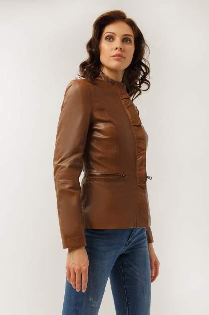 Куртка кожаная женская Finn Flare CB19-17011 коричневая XS