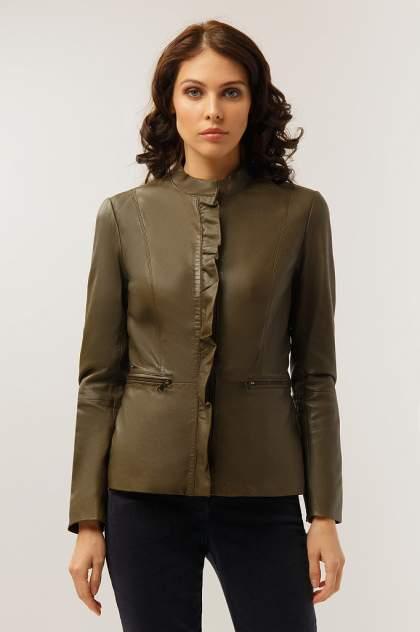 Куртка кожаная женская Finn Flare CB19-17011 зеленая XS
