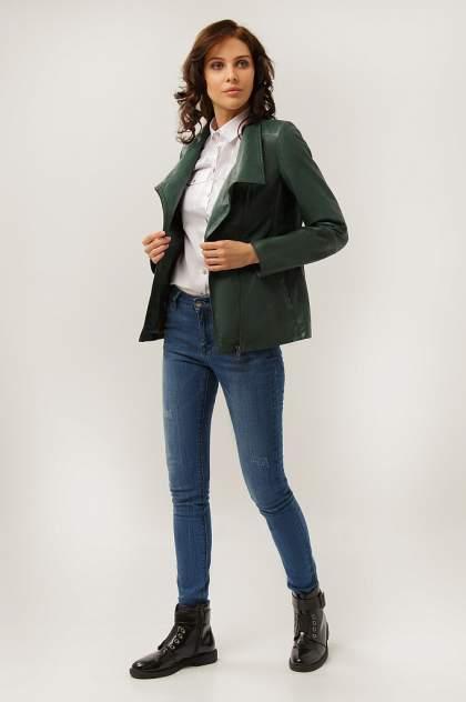 Куртка кожаная женская Finn Flare CB19-17013 зеленая XS