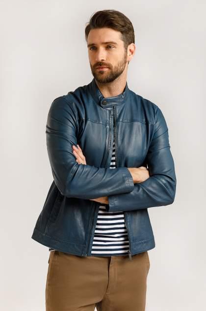 Кожаная куртка мужская Finn Flare B20-21804 голубая 3XL