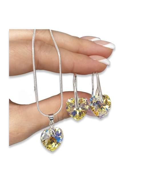 Серьги+подвеска из бижутерного сплава с swarovski Crystal AB Amante crystal Roskosh