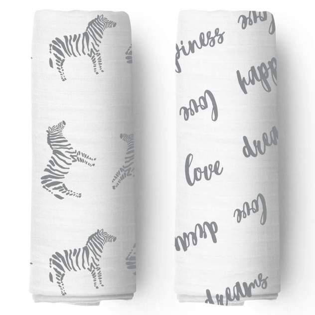 Муслиновые пеленки 2 шт. Adam Stork Zebra/Happiness