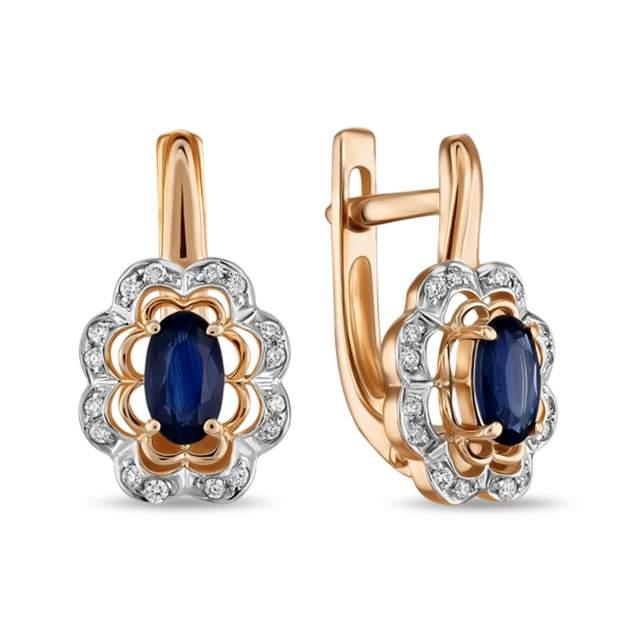 Серьги женские из золота Московский ювелирный завод E77-E59119-SA, бриллиант/сапфир