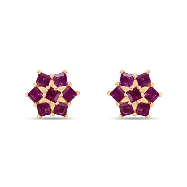 Серьги женские из золота Московский ювелирный завод E01-34891-RU, рубин