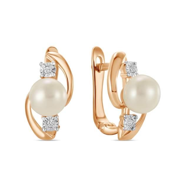 Серьги женские из золота Московский ювелирный завод E01-35375-PR, бриллиант/жемчуг