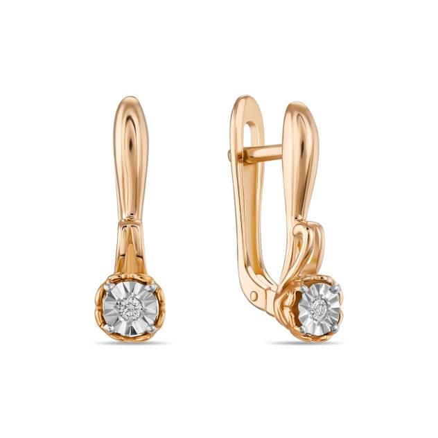 Серьги женские из золота Московский ювелирный завод E01-PL-34732, бриллиант