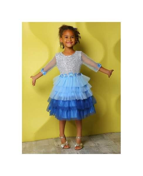 Платье нарядное для девочек Ciggo цв. голубой р.92