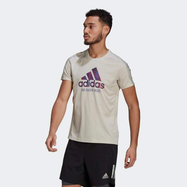 Футболка мужская Adidas Run for the Oceans Graphic бежевая XL INT