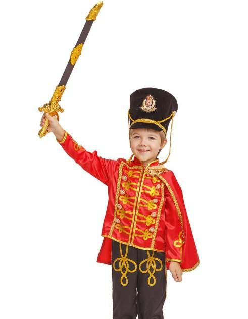 Карнавальный костюм Батик Гусар, цв. черный; красный р.134