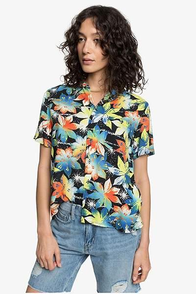 Женская рубашка с коротким рукавом Womens Quiksilver, черный, L