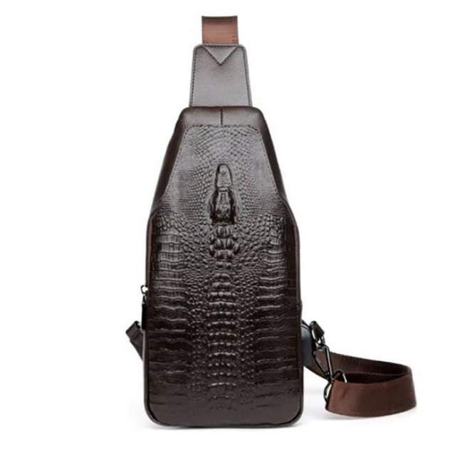 Мужская сумка рюкзак Alligator P0133B с USB-портом коричневая