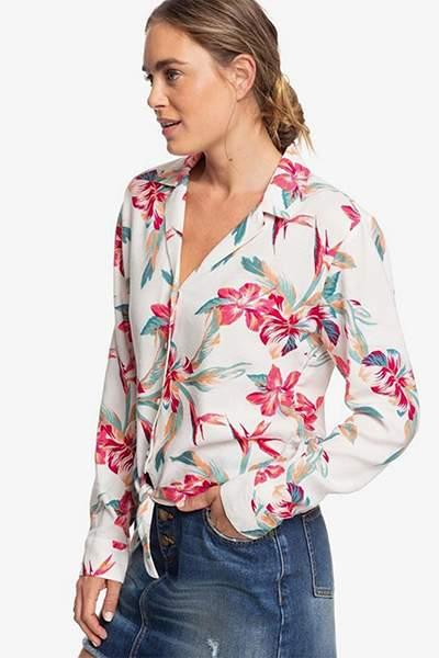 Женская рубашка с длинным рукавом The Lover Side Roxy, белый, M