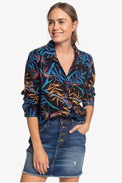 Женская рубашка с длинным рукавом Mess Is Mine Roxy, антрацит, XS