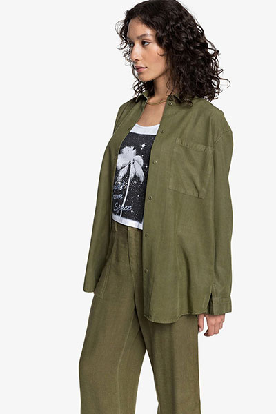 Женская рубашка с длинным рукавом Womens, зеленый, XS