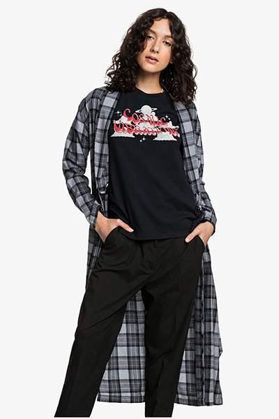 Женская удлинённая рубашка с длинным рукавом Womens, серый, L