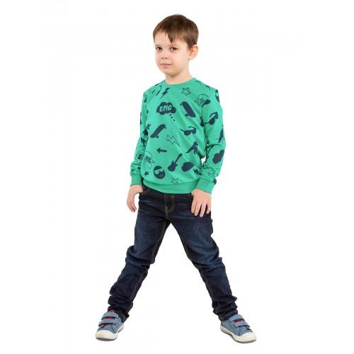 Джемпер трикотажный для мальчиков c рис. Гитары KIDAXI, цв. зеленый, р-р 110