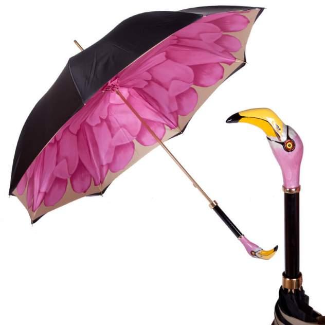 Зонт-трость женский механический Pasotti Nero Georgin Rosa Flamingo розовый/черный