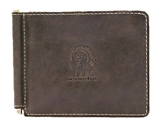 Зажим для денег мужской Apache ОК-А дымчато-коричневый