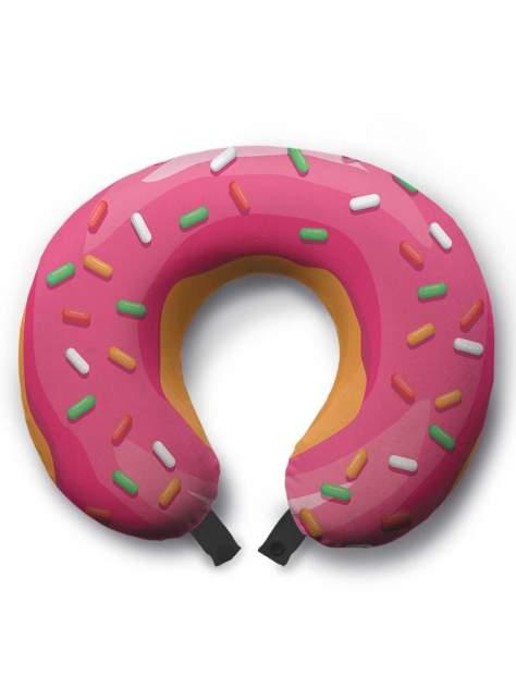 Дорожная подушка JoyArty Розовый пончик желтая