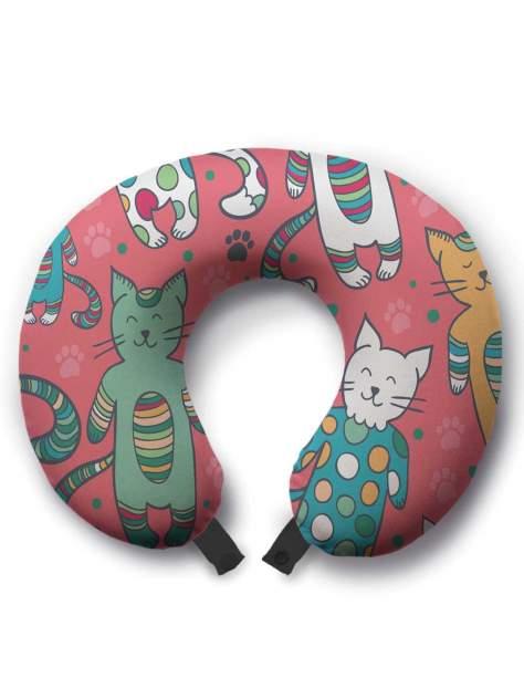 Дорожная подушка JoyArty Коты в пижамах розовая